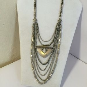 Unique Lucky Brand Silver Tone Statement Necklace
